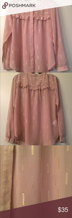 Ann Taylor Blouse, XS Never worn! Ann Taylor blush pink blouse with metallic gold detailing, XS Ann Taylor Tops Blouses