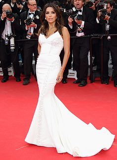 Eva Longoria wears a stunning white gown to the Cannes Film Festival on May 17