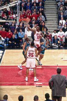 Michael Jordan of the Chicago Bulls shoots the ball during the game against the Charlotte Hornets on February 1997 at the United Center in Chicago, IL. Get premium, high resolution news photos at Getty Images United Center, Michael Jordan Basketball, Jordan 23, Charlotte Hornets, Chicago Bulls, Michael Jordan Photos, Jordan Bulls, Nba Stars, Basketball Legends