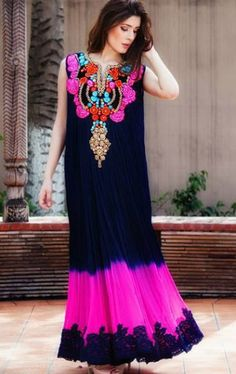 pakistani dresses for sale in usa | Navy Blue/Pink Ankle Length Embroidered Party Frock