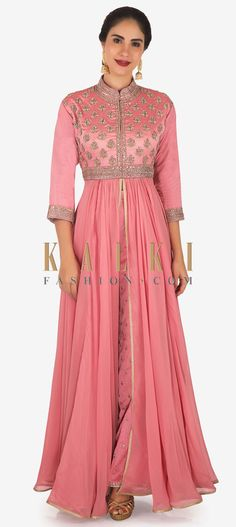 Buy Online from the link below. We ship worldwide Click Anywhere to Tag Candy pink anarkali suit in french knot embroidery only on Kalki Candy pink anarkali suit featuring in georgette with front slit. Bodice is embellished in zari french knot and kundan embroidery. Matched with pink straight pants. No dupatta. Slight variation in color is possible.