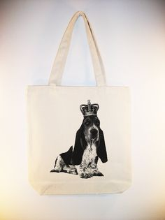 Royal Basset Hound on  15x15 Canvas Tote -- larger zip top tote style and personalization available