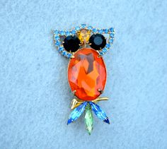 Rhinestone Owl Vintage Brooch by HighClassHighway on Etsy, $22.00