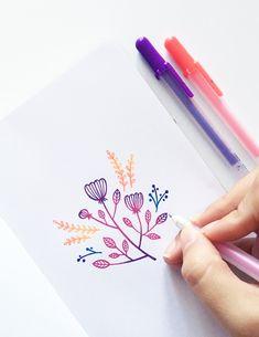 Blending With Gel Pens How To Create Gel Pen Gradients Archer and Olive Bujo Inspiration, Bullet Journal Inspiration, Lettering Tutorial, Hand Lettering, Gel Pen Art, Pen Doodles, Smash Book, Simple Doodles, Floral Illustrations
