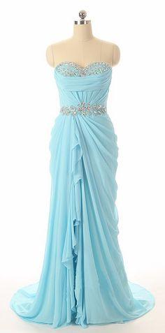 Prom Elegant Sky Blue Chiffon Mermaid Longg Evening Dresses