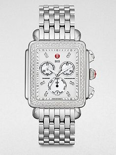 Michele Watches Diamond Stainless Steel Chronograph Watch