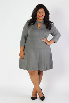 a5961203c4f Plus Size Clothing for Women - Lady Boss Keyhole Dress - Charcoal -  Society+ - Society Plus - Buy Online Now!