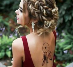 Burgundy dress backless, nice tattoo - LadyStyle