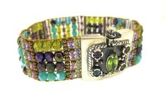 Chili Rose Amethyst & Turquoise Cowboy Bracelet with Gem Clasp - icejewelry.com