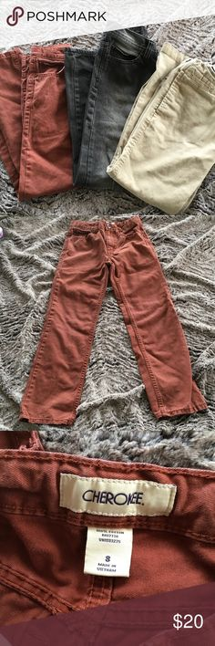 Boys size 8 pant bundle Three pairs of size 8 boys pants.  The khaki (Gap) pants are size 8 husky, they gray (Buffalo)  pants are slim and the orange (Cherokee) ones are regulars.  Discoloration on the gray ones but may come out in the wash, otherwise all in excellent condition. Buffalo David Bitton Bottoms
