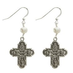 Four-Way Cross Pewter Earrings with Freshwater Pearl | The Catholic Company $35.95