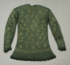 Gebreid jasje - Knitted Hunting Jacket (reverse),The Cleveland Museum of Art, century Historical Costume, Historical Clothing, 17th Century Fashion, Hunting Jackets, Period Outfit, Textiles, Jacket Pattern, Vintage Knitting, Knit Jacket