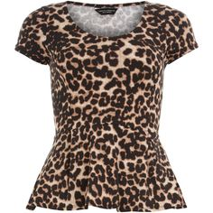 Animal print peplum top ($28) ❤ liked on Polyvore