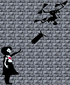 """The Balloon goes Up; expression used in to signal artillery my take on Banksy : """"Girl with Balloon"""" images: Pixabay wall : Gimp effects: G. The Balloon goes up"""