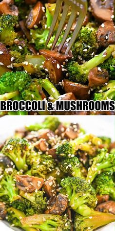 Healthy Dinner Recipes: One of my favorite broccoli recipes! This vegetarian garlic broccoli stir fry recipe is ready in just 10 minutes. Serve this easy vegan recipe over your favorite rice for a quick weeknight dinner. Tasty Vegetarian Recipes, Vegan Dinner Recipes, Vegan Dinners, Diet Recipes, Cooking Recipes, Healthy Recipes, Broccoli Recipes Side Dish Healthy, Vegetarian Recipes With Mushrooms, Healthy Mushroom Recipes