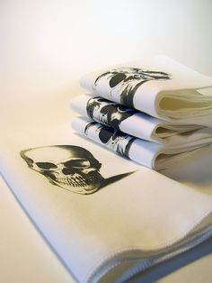 Skull Printed Cotton Napkins - Set of FOUR. $24.00, via Etsy.