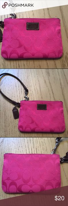 Pink coach wristlet like new Beautiful wristlet like new of course authentic Coach Bags Clutches & Wristlets