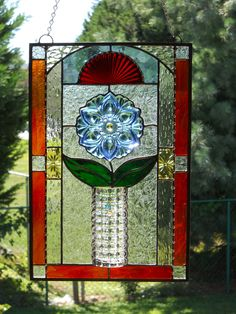 Clear Vase with Blue Flower Stained Glass Panel