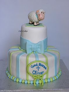 Baptismal cake for a baby boy.