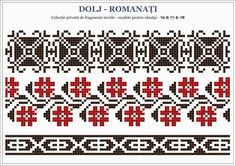 Romanian traditional motifs - OLTENIA, Dolj - Romanati (Semne Cusute) Hand Embroidery Projects, Folk Embroidery, Cross Stitch Embroidery, Embroidery Patterns, Beaded Cross Stitch, Cross Stitch Borders, Cross Stitch Patterns, Palestinian Embroidery, Charts And Graphs