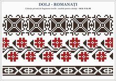 Semne Cusute: Romanian traditional motifs - OLTENIA, Dolj - Romanati Hand Embroidery Projects, Folk Embroidery, Cross Stitch Embroidery, Embroidery Patterns, Beaded Cross Stitch, Cross Stitch Borders, Cross Stitch Patterns, Palestinian Embroidery, Charts And Graphs