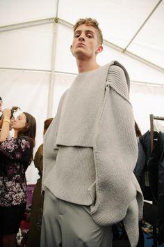 Cyanne WingYan Sze and knitwear by Marco Milani backstage at LCF BA graduate fashion 2015