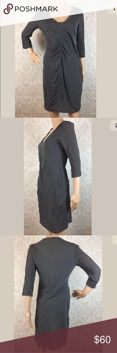 """James Perse gray v neck dress Pre owned James Perse gray v neck dress, size 2 (standard medium-see measurements).  3/4 length sleeves, lined. Broken in gray wash.  Armpit to armpit-17""""  Waist lying flat-15.5""""  Armpit to hem-28.5"""" James Perse Dresses"""