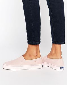 Pink | Keds Double Decker Washed Leather Pale Pink Slip On Plimsoll Trainers at ASOS