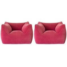 """Pair of Bambole armchairs by Mario bellini for B  Italy  1972  Pair of really comfortalbe """"Le Bambole"""" armchairs by Mario Bellini for B  Rare light red fabric, completely removable.  Winner of """"Compasso d'Oro"""" Italian Prize in 1979"""