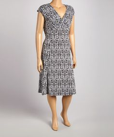 Another great find on #zulily! Black & White V-Neck Cap-Sleeve Dress - Plus by Glamour #zulilyfinds