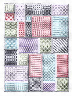 Blackwork Sampler PlusA really really true sampler. Reminds me of a quilt! Blackwork Cross Stitch, Blackwork Embroidery, Cross Stitching, Cross Stitch Embroidery, Embroidery Patterns, Cross Stitch Patterns, Stitching Patterns, Needlepoint Stitches, Needlework