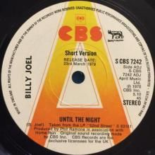 UNTIL THE NIGHT (SHORT VERSION) (5:10) / UNTIL THE NIGHT (LONG VERSION) (6:35) | BILLY JOEL | 7 inch single | music4collectors.com