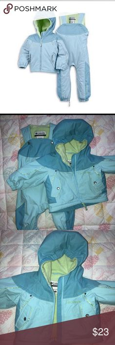 💙 Columbia 2 Pc Snowsuit 💙 Columbia Infant 2 Piece snowsuit size 6 months. Blue and green. Used only 3x for my daughter. Could be unisex, neutral colors. Hooded winter jacket with zipper and snow pants. Snowpants have zipper between legs for easy diaper changes. Adjustable button snaps on shoulders. Columbia Jackets & Coats