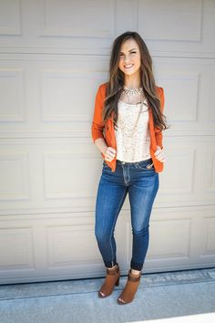 knockout cutout blazer - rust