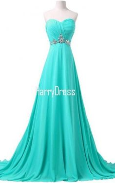Charming Long Teal Sweetheart A Line Chiffon Strapless Beading Prom Dress