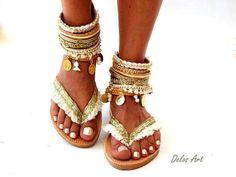 Cuero sandalias Boho Sueño blanco sandalias