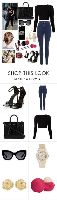 """Downtown London with Louis"" by one-direction-magcon ❤ liked on Polyvore featuring Topshop, Yves Saint Laurent, Cushnie Et Ochs, Karen Walker, Rolex, Effy Jewelry and Eos"