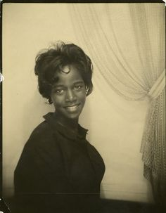 ** Vintage Photo Booth Picture **   Beautiful African American woman. 1960