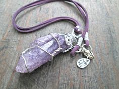 Wire Wrapped Amethyst Crystal Amethyst Necklace by EarthChildArt