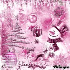 Pink Christmas Snowman & Tree Feliz navidad