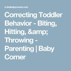 Correcting Toddler Behavior - Biting, Hitting, & Throwing - Parenting | Baby Corner