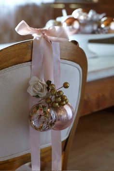 Chair decoration for winter wedding or party. Would be cute to have a banner hanging if that says bride
