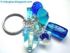 RobyGiup Handmade: Portachiavi azzurro - Azure keyring. Perfect as key chain or handbag charm #azure #blue #keyring #beads