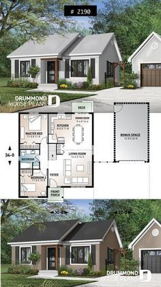 Discover the plan 2190 - St-Laurent from the Drummond House Plans house collection. 2 large bedrooms, small & simple transitional style house plan, very low construction cost, open space. Total living area of 948 sqft. 2 Bedroom House Plans, Guest House Plans, Two Bedroom Tiny House, Large Bedroom, Drummond House Plans, Sims House Plans, Bungalow House Plans, Bungalow Homes, Good House