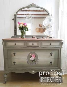 Beautiful Antique Dresser Hand-Painted by Larissa of Prodigal Pieces | prodigalpieces.com #prodigalpieces #furniture