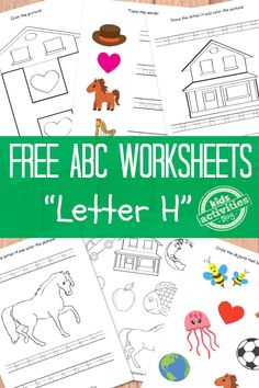 Letter H Worksheets - links to other free printable ABC worksheets great for home, school and homeschool - preschool and Kindergarten