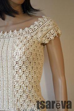 Crochet top Kamilla. Handmade summer women ecru cotton lace crochet top. Free shipping. Ready to shi