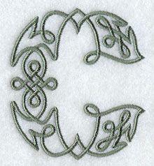 Celtic Knotwork Letter C - 3 Inch design (F9401) from www.Emblibrary.com