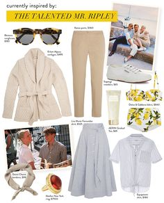 "Summer Style Inspiration: Channeling ""The Talented Mr. Ripley"" // Erlūm Alpaca bulky cardigan, chinos, Superga sneakers..."