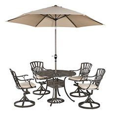 Home Styles 55613056C Largo 5 Piece Outdoor Dining Set with 42 Table Swivel Chairs with Cushions and Umbrella -- Be sure to check out this.